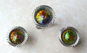 Vintage Polychrome Faceted Clip On Earrings And Ring Set.